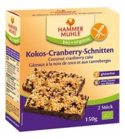 Bio Kokos-Cranberry-Schnitten - glutenfrei