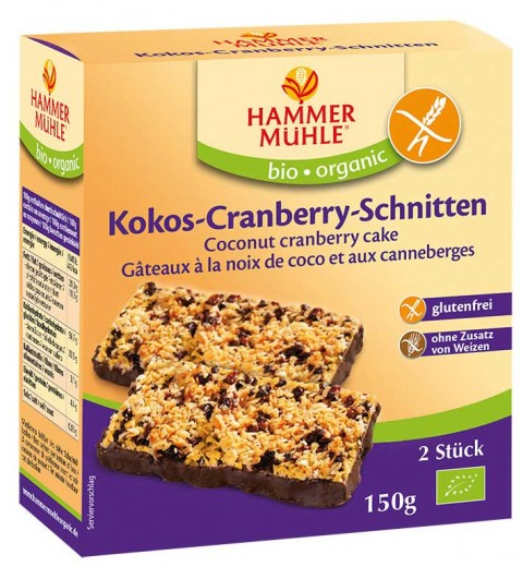 Bio Kokos-Cranberry-Schnitten