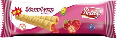Erdbeer-Waffelröllchen
