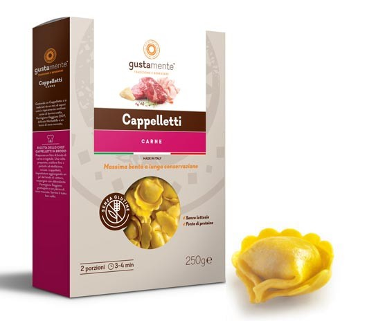 Glutenfreie Cappelletti Carne mit Hackfleischfüllung