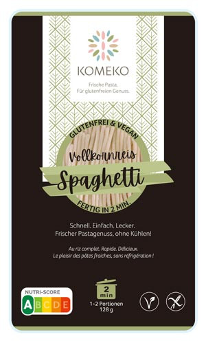 Vollkornreis Spaghetti frische Teigware