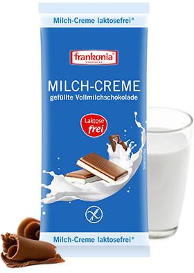 Milch-Creme gefüllte Vollmilchschokolade laktosefrei