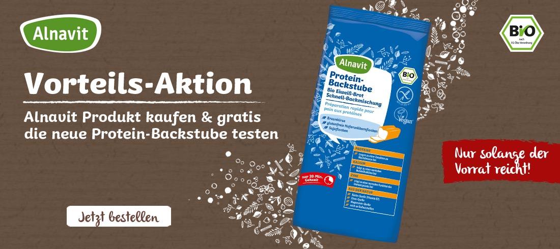 Gratis Backmischung Protein-Backstube von Alnavit - Bei Glutenunverträglichkeit hier einkaufen!