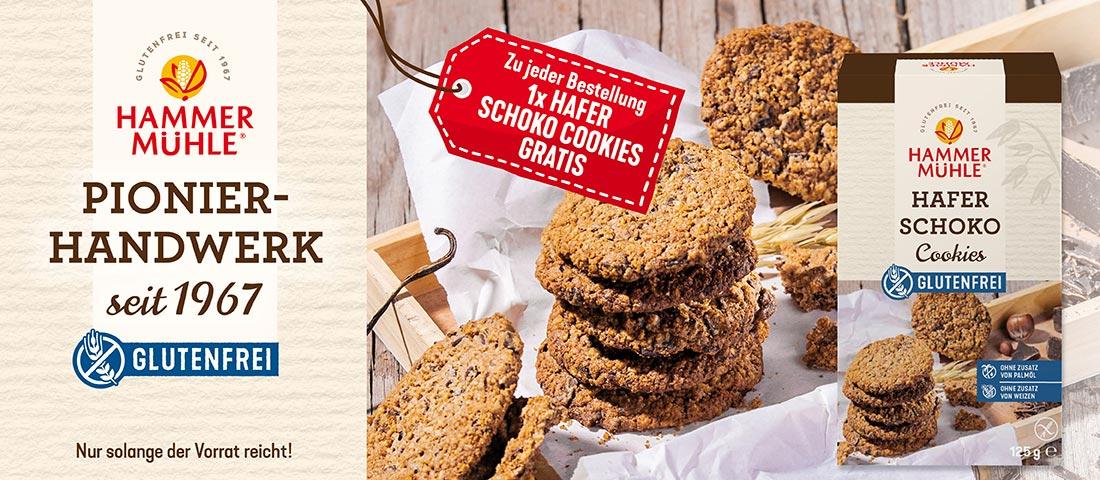 Hammermühle 1 x Hafer Schoko Cookies gratis - Bei Glutenunverträglichkeit hier einkaufen!